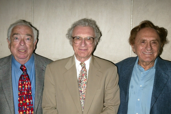 "Jerry Bock, Sheldon Harnick and Joseph Stein  attend a performance of ""FIDDLER ON THE Photo"