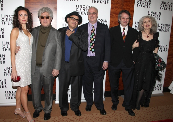 Laura Benanti, Pedro Almodovar, composer David Yazbeck, writer Jeffrey Lane, director Bartlett Sher and Mary Beth Peil