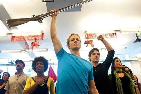 Chaston Harmon, Jeremy Hays, Justin Scott Brown and the LES MISERABLES Tour Cast Photo