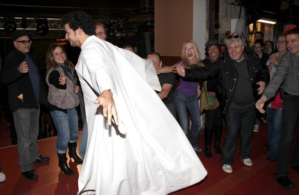 Julio Agustin (Gypsy Robe Recepient) & David Yazbeck, Sherie Rene Scott, de'Andre Aziza, Pedro Almodovar & Bartlett Sher