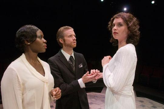 Shirine Babb as Paulina, Christian Durso as Leontes and Ryman Sneed