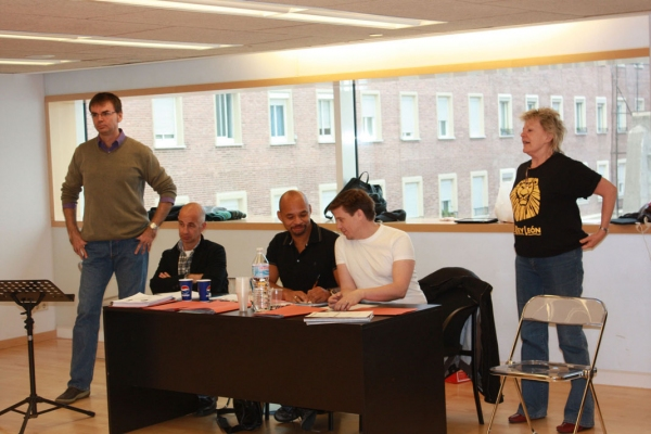 Arnau Vila, Rijk Brouwer, Clement Ishmael, John Stefaniuk and Moira Chapman  at THE LION KING Auditions start in Madrid