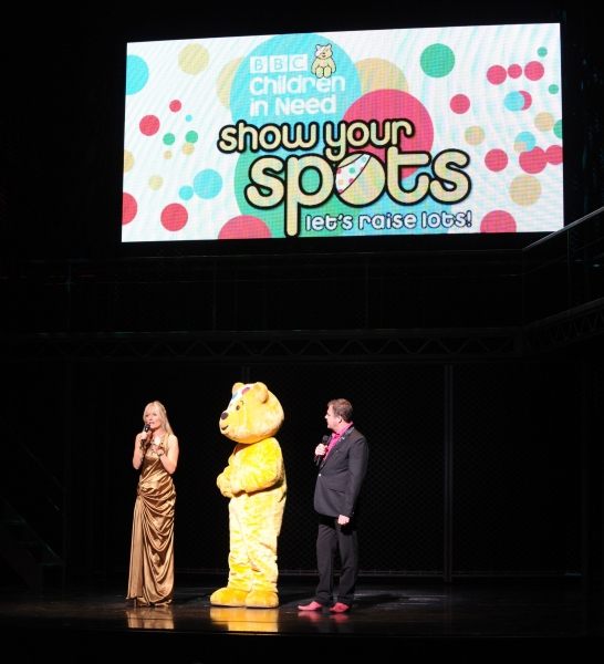 Gaby Roslin, Pudsey Bear, Paul Ross at JERSEY BOYS Joins BBC London 94.9FM For Children In Need
