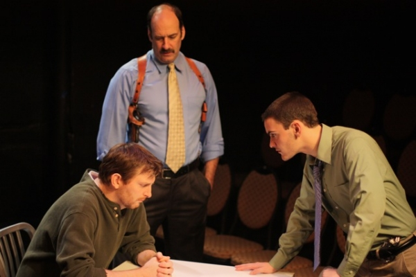 Brad Makarowski (Weldon), Dan Sharkey (Simmons), and Montgomery Sutton (Jake)