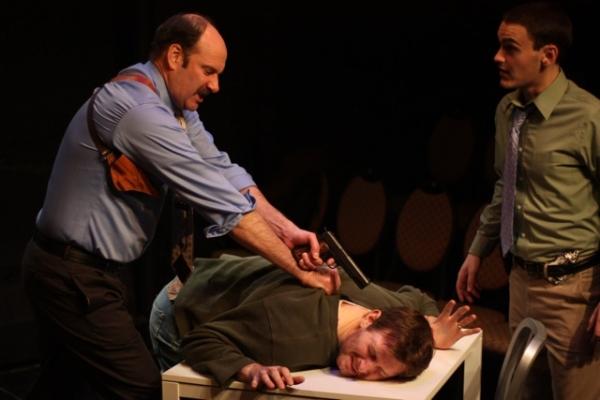 Dan Sharkey (Simmons), Brad Makarowski (Weldon), and Montgomery Sutton (Jake)
