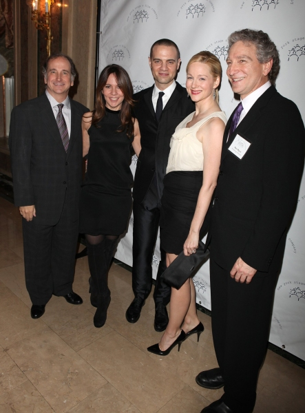 Mark Linn-Baker, a guest, Honoree Jordan Roth, Honoree Laura Linney, and Max Mayer