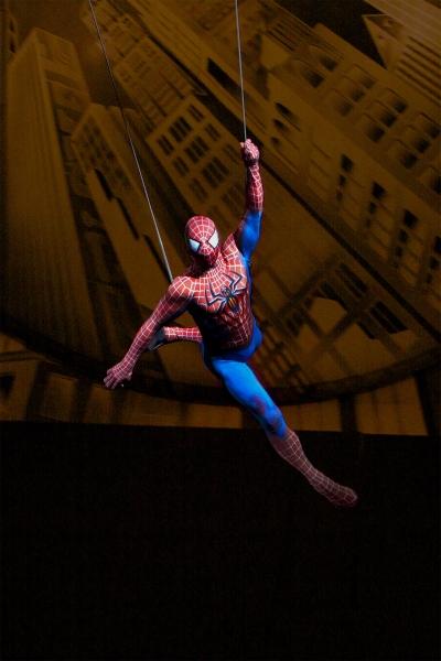 Spider-Man flies through the Foxwoods Theatre