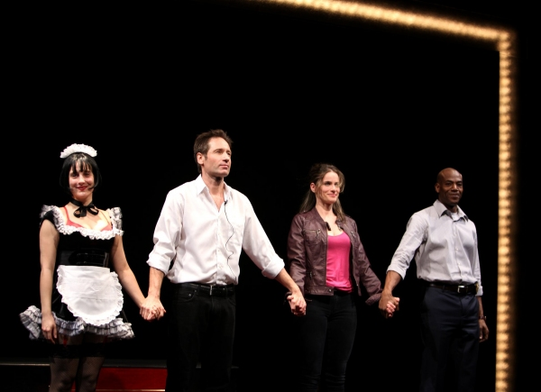 Tracee Chimo & David Duchovny & Amanda Peet & John Earl Jelks - 'The Break Of Noon'  at the Lortel Theatre on 11/22/2010  at 2010 Curtain Call Highlights - Part One