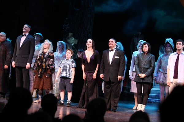 "Kevin Chamberlain, Zachary James, Jackie Hoffman, Bebe Neuwirth, Nathan Lane, Adam Riegler, Krysta Rodriguez, Wesley Taylor  - THE ADDAMS FAMILY"" at the Lunt-Fontanne Theatre on 4/8/2010"