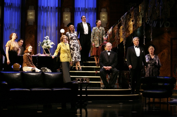 "Victor Garber with ensemble cast members: Harriet Harris, Brooks Ashmanskas, Holley Fain, Lisa Banes, Pamela Jane Gray, James Joseph O'Neil, Nancy Carroll, Richard Poe & Alice Duffy - ""PRESENT LAUGHTER"" at the Roundabout Theatre Company's American Airline"