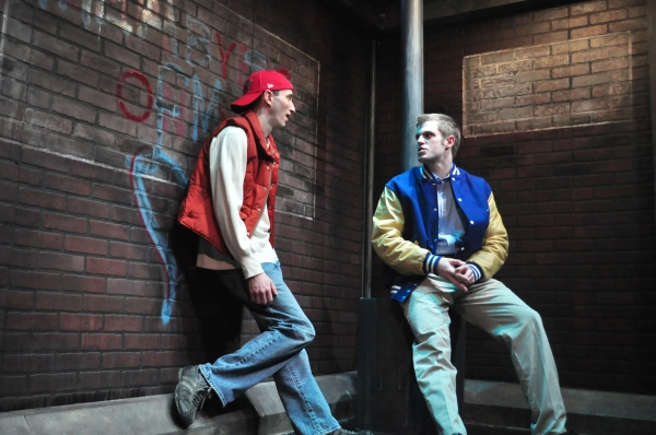 (L to R) Brent (Scot Greenwell) and Andy (Matt Goodrich) meet in the Wal-Mart parking lot as teenagers in a scene from Norway.