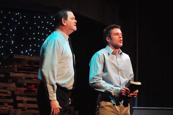 (L to R) Mark (Dan Scharbrough) and his son Andy (Matt Goodrich) in a scene from Norway