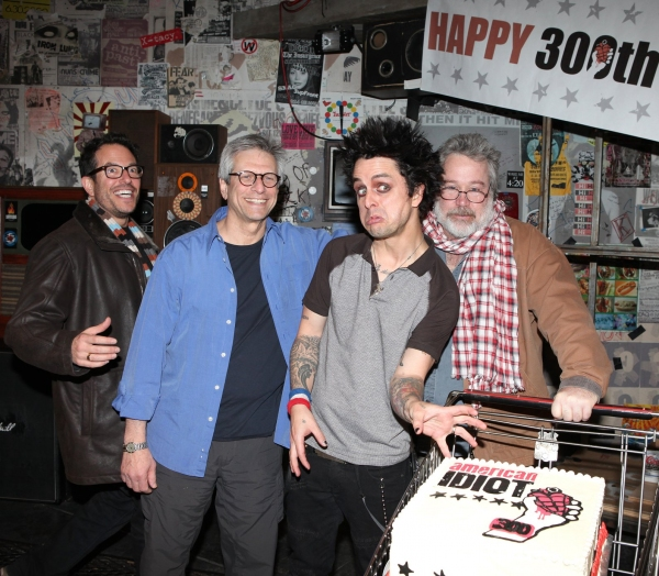 Billy Joe Armstrong (Green Day) with director Michael Mayer, producer Ira Pittelman & producer Tom Hulce  at AMERICAN IDIOT Celebrates 300 Shows!