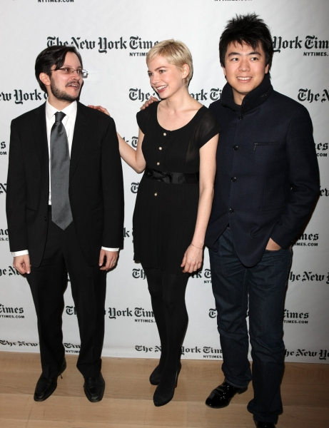 N.Y. Times culture reporter Dave Itzkof & Michelle Williams  with Lang Lang at Michelle Williams & Lang Lang visit Times Talks