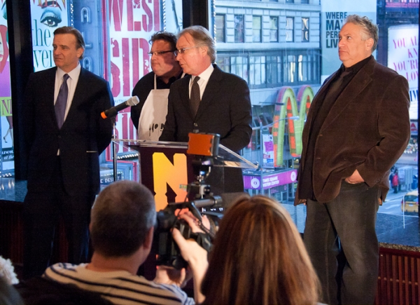 ) NYC Deputy Mayor for Economic Development Robert Steel, celebrity chef David Burke, Harvey Fierstein and NYC & Company CEO George Fertitta