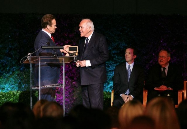 Former Govenor Arnold Schwartzenegger presents the official Govenors ring to Founding Chairman Henry Segerstrom