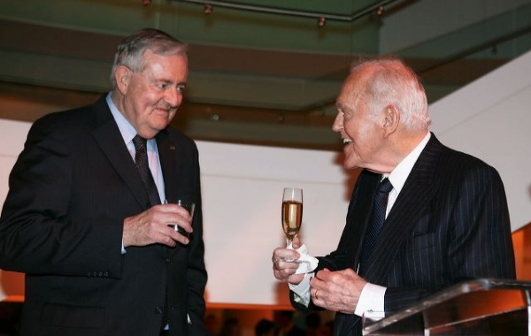Thomas McKernan (L) and Founding Chairman Henry Segerstrom