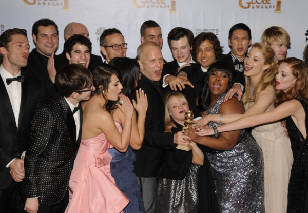 GOLDEN GLOBE AWARDS VIEWING PARTY AND POST-SHOW CELEBRATION:  The cast of GLEE (L-R): Top row: Matthew Morrison, Max Adler, Darren Cris, Mike O'Malley, Executive Producer Dante Di Loreto, Mark, Salling, Chris Colfer, Executive Producer Brad Falchuk, Hary