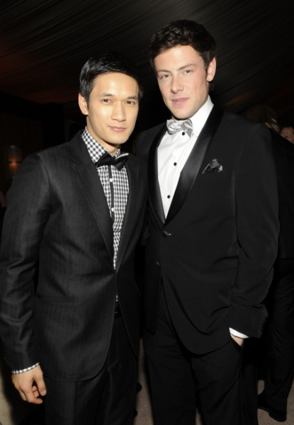GOLDEN GLOBE AWARDS VIEWING PARTY AND POST-SHOW CELEBRATION: (L-R):  GLEE'S Harry Shum Jr. and Cory Monteith celebrate the Golden Globe Awards at the Beverly Hilton Hotel in Beverly Hills, CA. on Sunday, Jan. 16. ï�¿½2011 Fox Broadcasting Co. CR: Frank