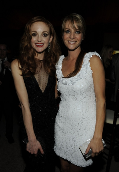 GOLDEN GLOBE AWARDS VIEWING PARTY AND POST-SHOW CELEBRATION: (L-R): GLEE's Jayma Mays and Jessalyn Gilsig celebrate the Golden Globe Awards at the Beverly Hilton Hotel in Beverly Hills, CA. on Sunday, Jan. 16. �2011 Fox Broadcasting Co. CR: Frank Mic