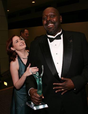 Stephanie Fredricks (L) and Ovation award winner Michael Shepperd Photo