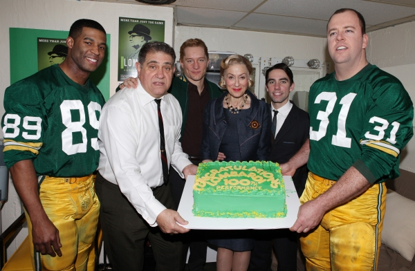 Backstage with Actors Robert Christopher Riley, Dan Lauria, Bill Dawes, Judith Light, Keith Nobbs and Chris Sullivan   of  at LOMBARDI Celebrates 100th Performance on Broadway