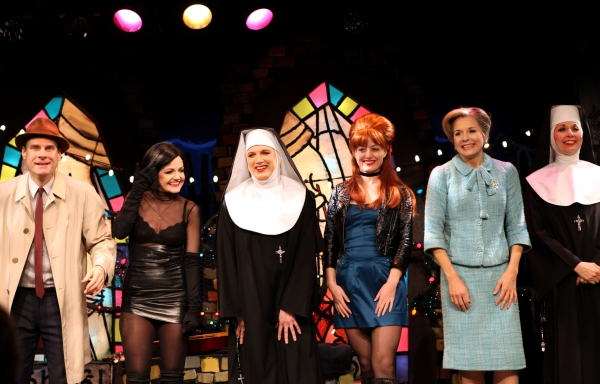Jonathan Walker, Alison Fraser, Charles Busch, Amy Rutberg, Jennifer Van Dyck with the cast of 'The Divine Sister' during a Curtain Call at the SoHo Playhouse in New York City. at A Visit With THE DIVINE SISTER - Curtain Call