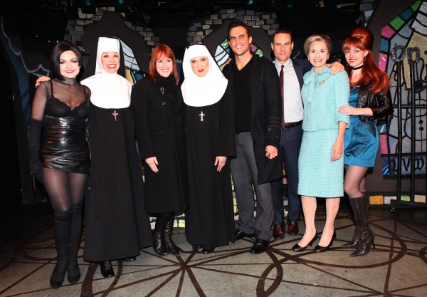 Molly Ringwald & Cheyenne Jackson visit Alison Fraser, Julie Halston, Charles Busch, Jonathan Walker, Jennifer Van Dyck & Amy Rutberg & the cast of 'The Divine Sister' Backstage at the SoHo Playhouse in New York City. at Molly Ringwald, Cheyenne Jackson & Daniel Davis Visit THE DIVINE SISTER