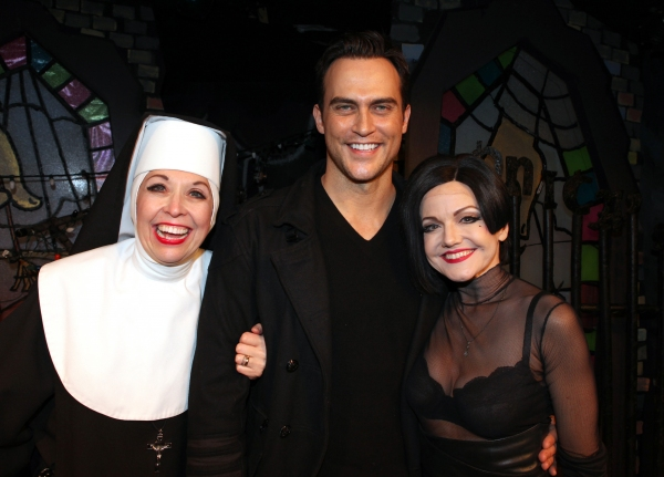 Cheyenne Jackson visits Julie Halson, Alison Fraser & the cast of 'The Divine Sister' Backstage at the SoHo Playhouse in New York City. at Molly Ringwald, Cheyenne Jackson & Daniel Davis Visit THE DIVINE SISTER