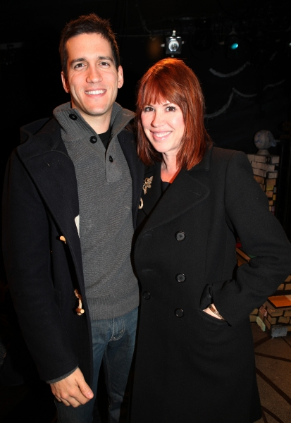 Molly Ringwald with husband Panio Gianopoulos visit Charles Busch & the cast of 'The Divine Sister' Backstage at the SoHo Playhouse in New York City.