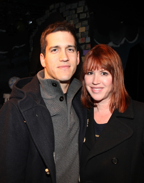 Molly Ringwald & Panio Gianopoulos visits the cast of 'The Divine Sister' Backstage at the SoHo Playhouse in New York City. at Molly Ringwald, Cheyenne Jackson & Daniel Davis Visit THE DIVINE SISTER