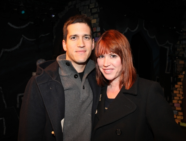 Molly Ringwald & Panio Gianopoulos visits the cast of 'The Divine Sister' Backstage at the SoHo Playhouse in New York City.