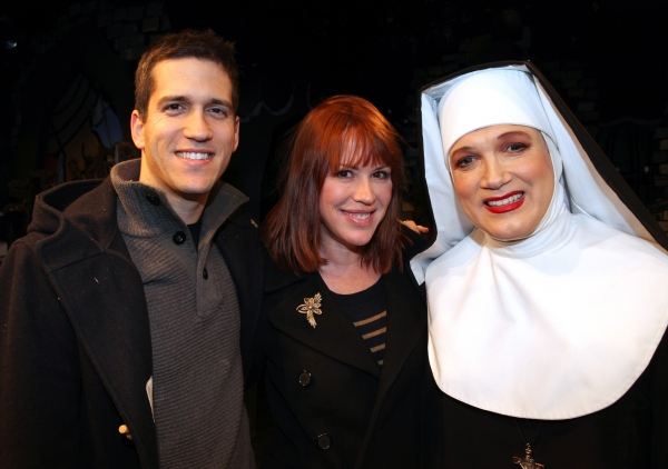 Molly Ringwald & Panio Gianopoulos visit Charles Busch & the cast of 'The Divine Sister' Backstage at the SoHo Playhouse in New York City.