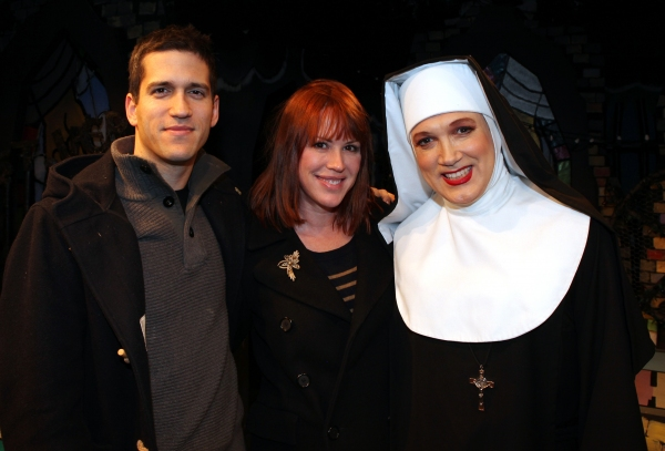 Molly Ringwald & Panio Gianopoulos visit Charles Busch & the cast of 'The Divine Sister' Backstage at the SoHo Playhouse in New York City. at Molly Ringwald, Cheyenne Jackson & Daniel Davis Visit THE DIVINE SISTER