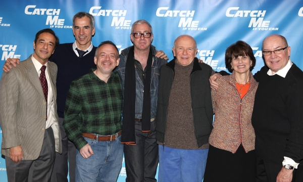Hal Luftig, Jerry Mitchell, Marc Shaiman, Scott Whittman, Terrence McNally, Margo Lion,  Jack O'Brien attending Meet & Greet for the New Broadway Musical 'Catch Me If You Can'  at the 42ns Street Rehearsal Studios in New York City.