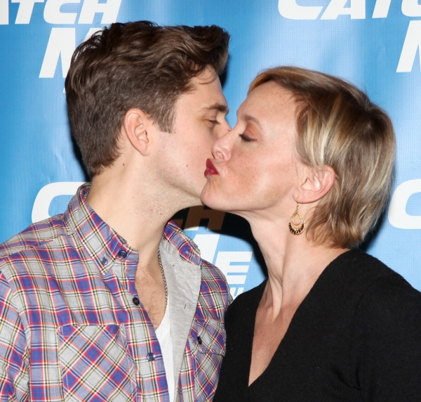 Aaron Tveit & Rachel de Benedet attending Meet & Greet for the New Broadway Musical 'Catch Me If You Can'  at the 42ns Street Rehearsal Studios in New York City.