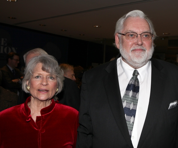 Louise Hirschfeld Cullman & Jim Brochu attends the reception and unveiling for the Al Hirschfeld permanent installation at The New York Public Library for Performing Arts in New York City.