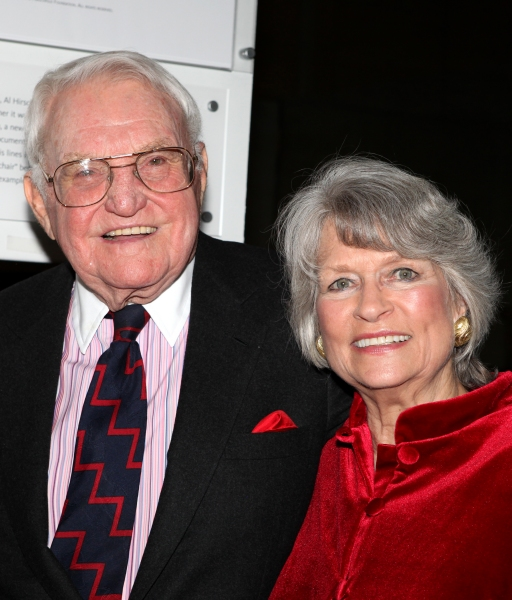 Lewis B. Cullman and wife Louise Hirschfeld Cullman attends the reception and unveiling for the Al Hirschfeld permanent installation at The New York Public Library for Performing Arts in New York City.