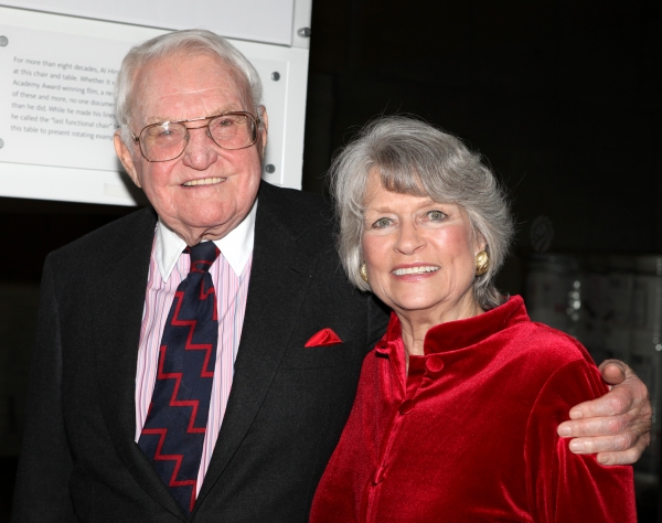 Lewis B. Cullman and wife Louise Hirschfeld Cullman attends the reception and unveiling for the Al Hirschfeld permanent installation at The New York Public Library for Performing Arts in New York City. at NYPL Unveils Al Hirschfeld Installation