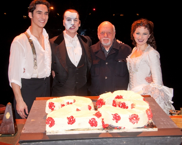 Sean MacLaughlin, Hugh Panaro, Harold Prince, and Sara Jean Ford at THE PHANTOM OF THE OPERA Celebrates 23 Years!