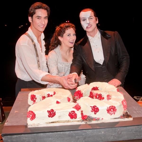 Sean MacLaughlin, Sara Jean Ford, and Hugh Panaro at THE PHANTOM OF THE OPERA Celebrates 23 Years!