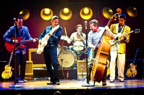 Lee Rocker & the cast of Million Dollar Quartet