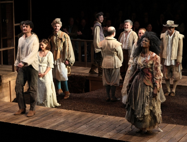 Ensemble cast featuring Justin Blanchard & Charlayne Woodard during the Curtain Call for the Red Bull Theatre Revival of 'The Witch Of Edmonton' at Theatre at St. Clement's in New York City.