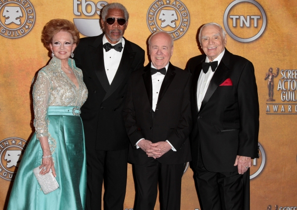 Tova Borgnine and actors Morgan Freeman, Tim Conway and Ernest Borgnine pictured at the 17th Annual Screen Actors Guild Awards Press Room held at The Shrine Auditorium in Los Angeles, California on January 30, 2011.  � RD / Orchon / Retna Digital.