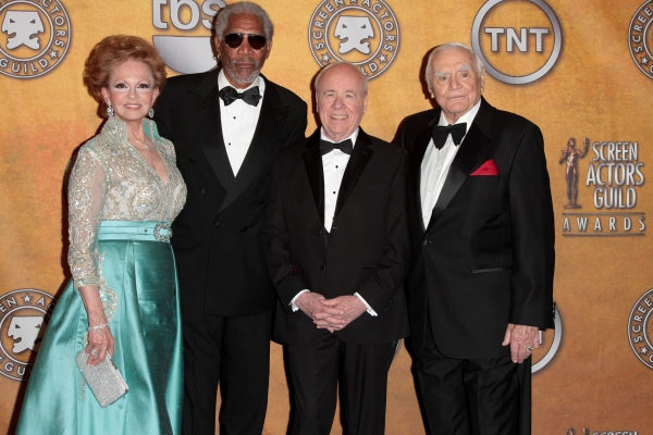 Tova Borgnine and actors Morgan Freeman, Tim Conway and Ernest Borgnine pictured at t Photo