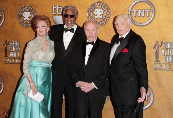 Tova Borgnine and actors Morgan Freeman, Tim Conway and Ernest Borgnine pictured at the 17th Annual Screen Actors Guild Awards Press Room held at The Shrine Auditorium in Los Angeles, California on January 30, 2011