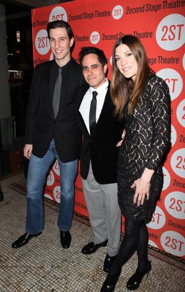 Pablo Schreiber & playwright Rajiv Joseph & Jennifer Carpenter Photo