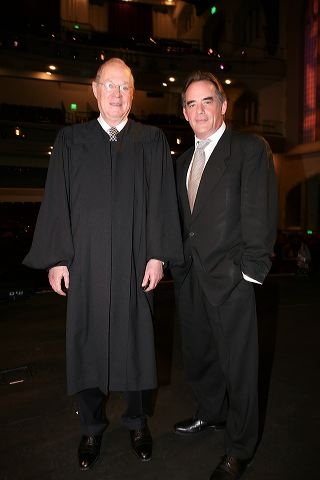 Supreme Court Justice Anthony M. Kennedy (L) and actor Tom Irwin