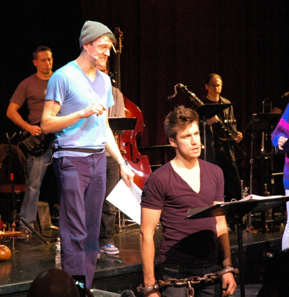 Gavin Creel and Gabe Ebert performing