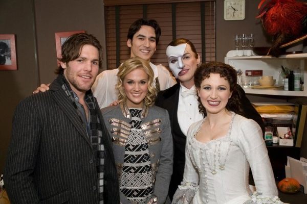 CARRIE UNDERWOOD and husband MIKE FISHER backstage at The Majestic Theatre with current stars SEAN MacLAUGHLIN (Raoul), HUGH PANARO (The Phantom) and SARA JEAN FORD